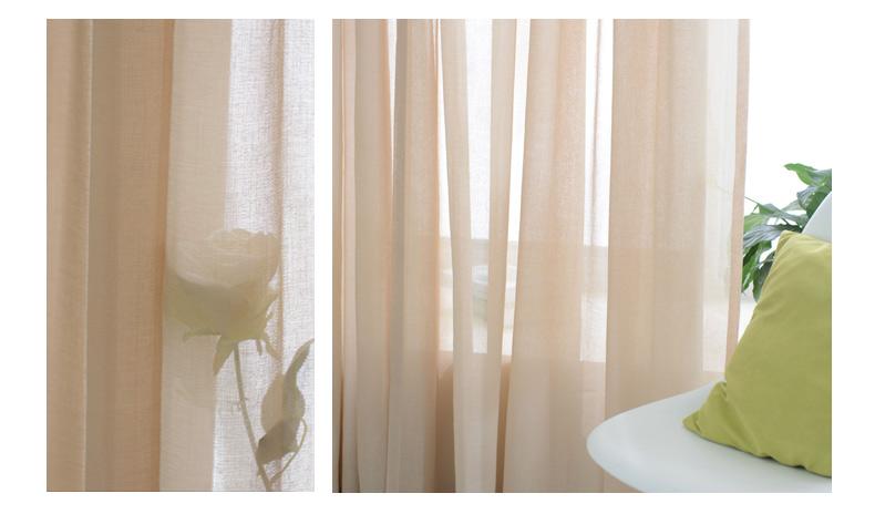 易可纺美式乡村窗帘客厅亚麻窗纱窗帘布料纯色卧室飘窗窗帘纱定制