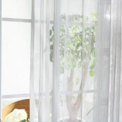 【梦幻之旅】万博客户端app白色透明网格窗纱 客厅卧室简约纱帘