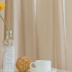 【情意绵绵】易可纺美式乡村窗帘客厅亚麻窗纱窗帘布料纯色卧室飘窗窗帘纱定制