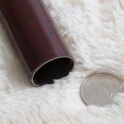 易可纺加厚钢质纳米静音窗帘杆创明双杆红木纹理罗马杆木质装饰头
